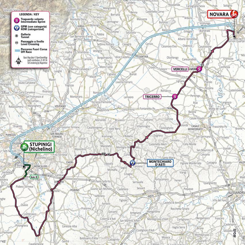 carte Étape 2 Giro d'Italia 2021 Stupinigi Nichelino Novara
