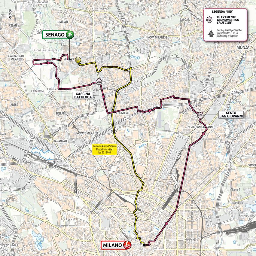 Planimetría Etapa 21 del Giro d'Italia 2021: Senago, Milano TISSOT ITT