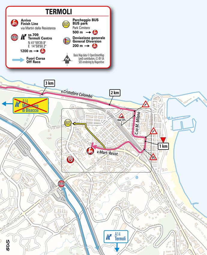 arrivo Tappa 7 del Giro d'Italia 2021 Notaresco Termoli