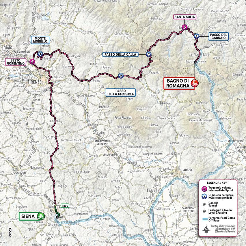 planimetría Etapa 12 Giro d'Italia 2021 Siena Bagno di Romagna