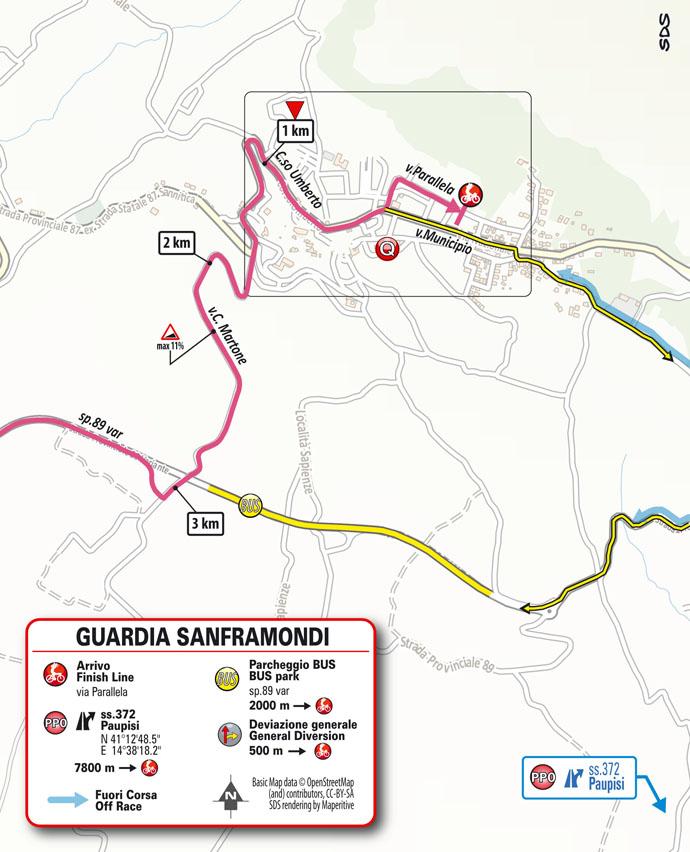 arrivo map Stage 8 Giro d'Italia 2021 Foggia Guardia Sanframondi