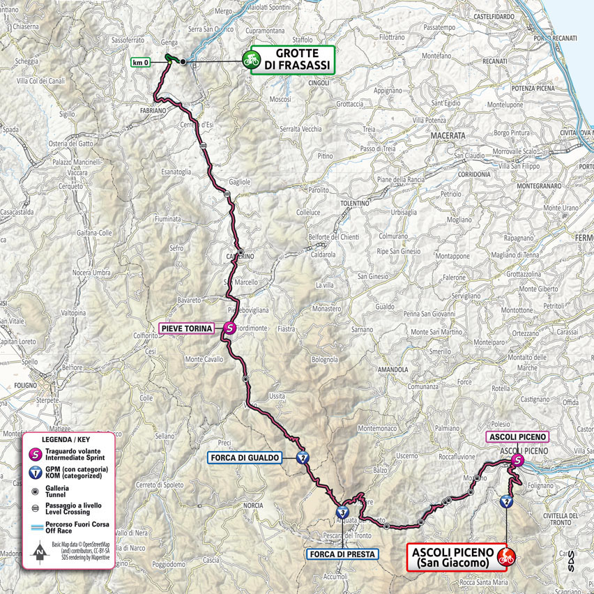 Planimetría Etapa 6 Giro d'Italia 2021 Grotte di Frasassi Ascoli Piceno San Giacomo