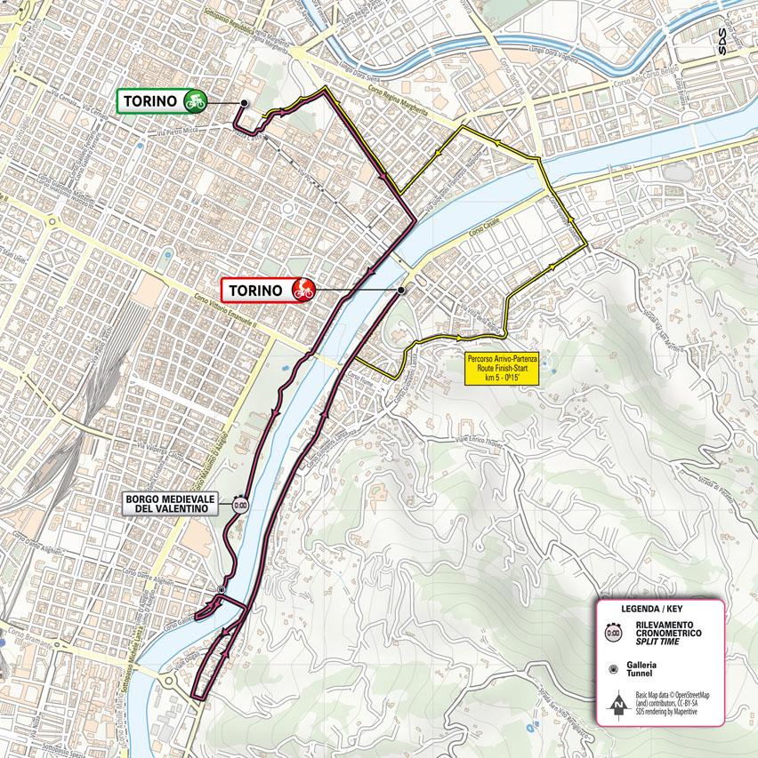 map stage 1 Giro d'Italia 2021 Torino Torino TISSOT ITT