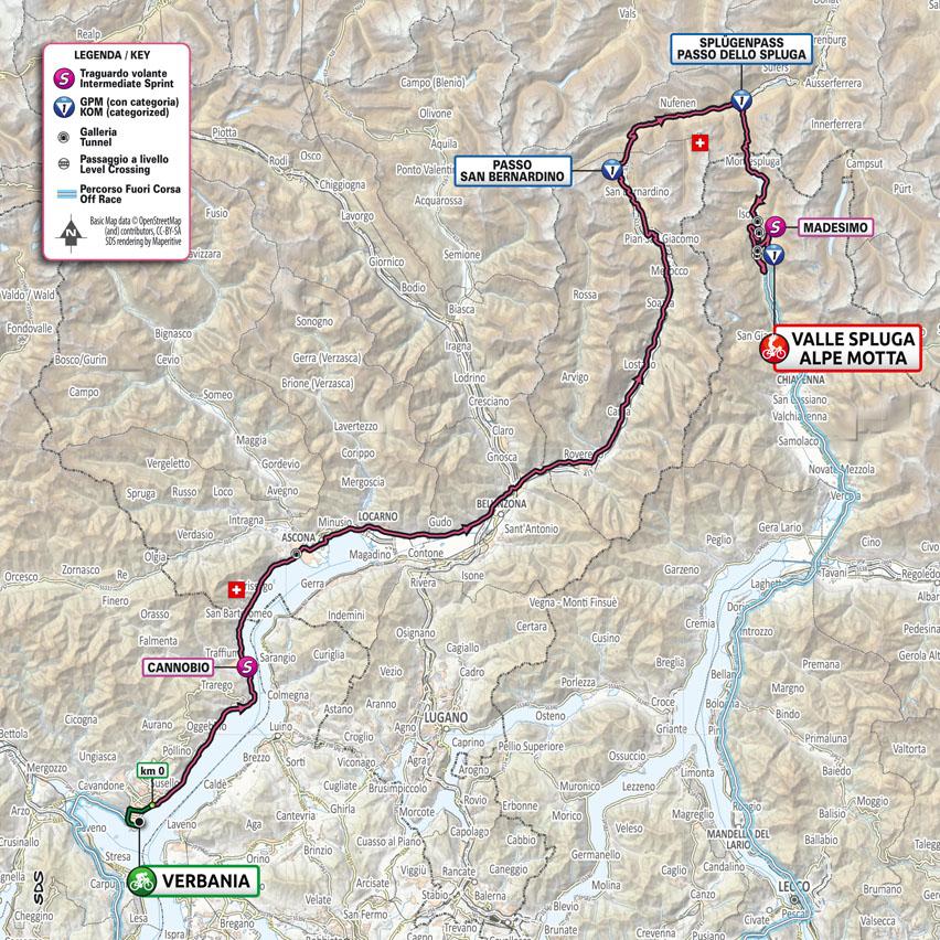 Planimetría Etapa 20 Giro d'Italia 2021: Verbania, Valle Spluga - Alpe Motta
