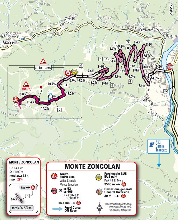 arrivo Tappa 14 del Giro d'Italia 2021 Cittadella Monte Zoncolan
