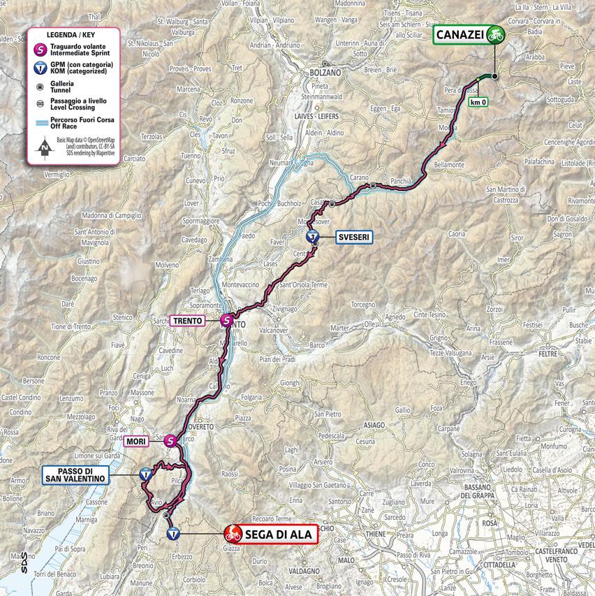 Planimetria Tappa 17 del Giro d'Italia 2021: Canazei, Sega di Ala