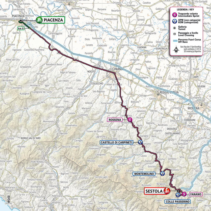 planimetría Etapa 4 Giro d'Italia 2021 Piacenza Sestola
