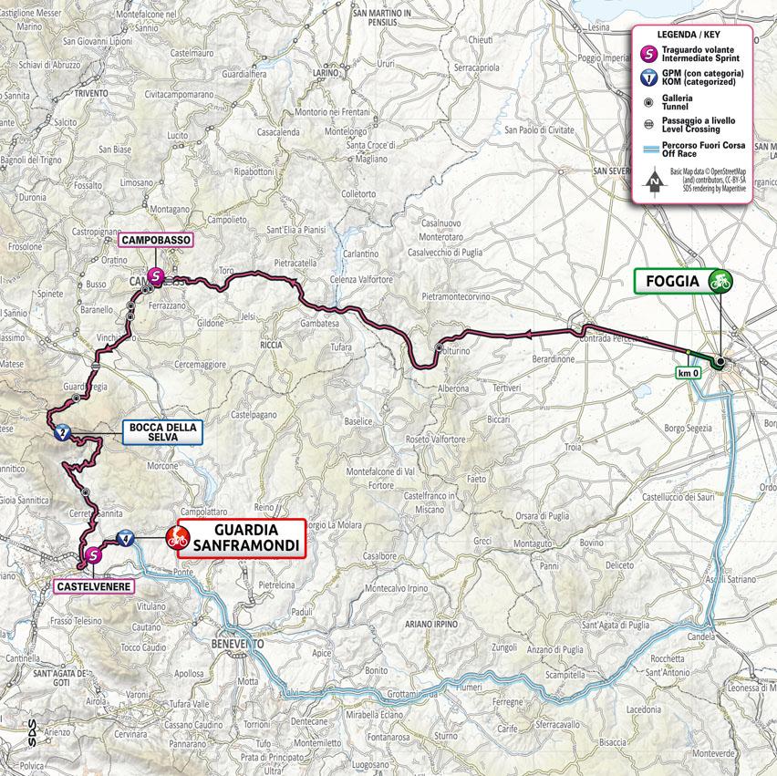 map Stage 8 Giro d'Italia 2021 Foggia Guardia Sanframondi