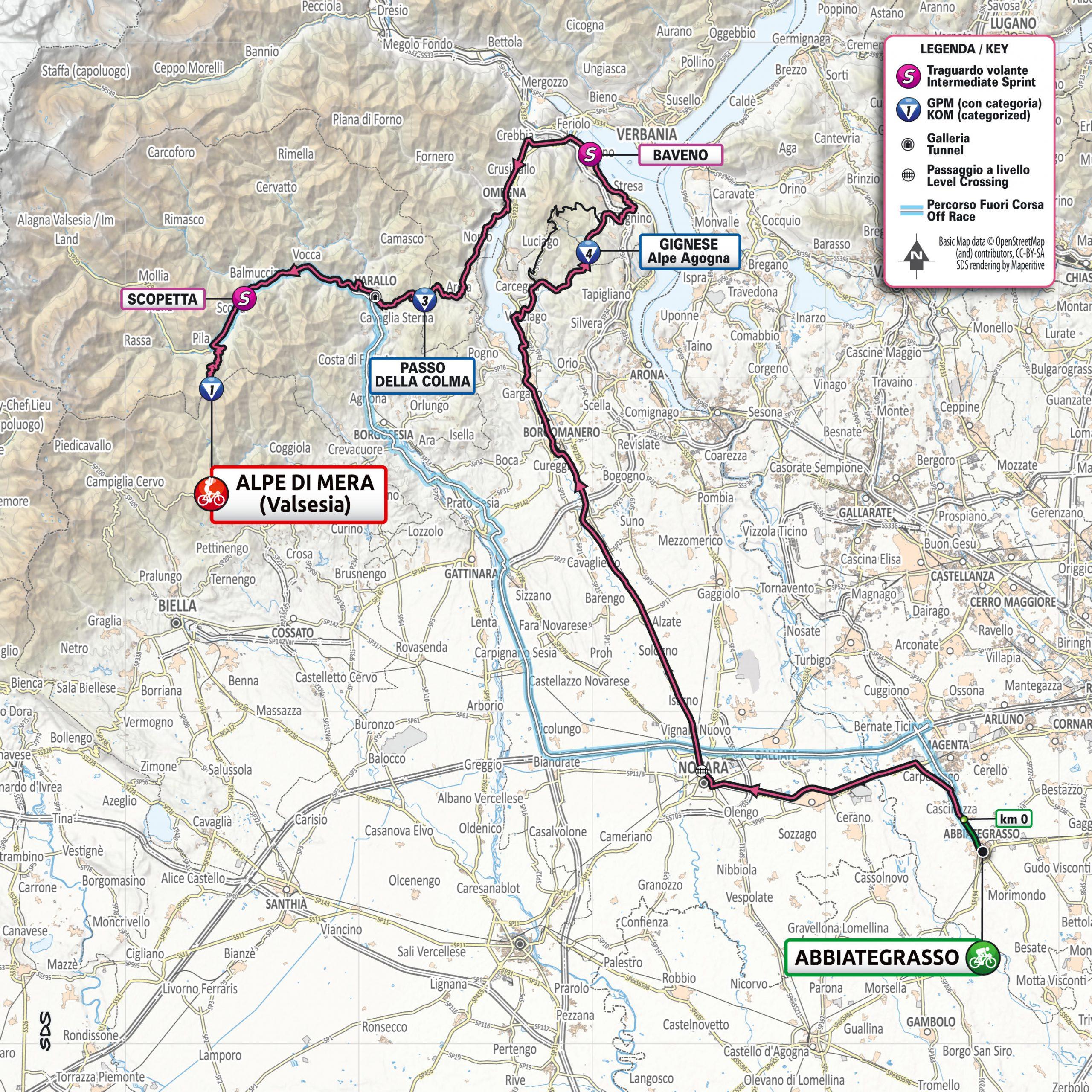 Planimetria Tappa 19 del Giro d'Italia 2021: Abbiategrasso, Alpe di Mera (Valsesia)