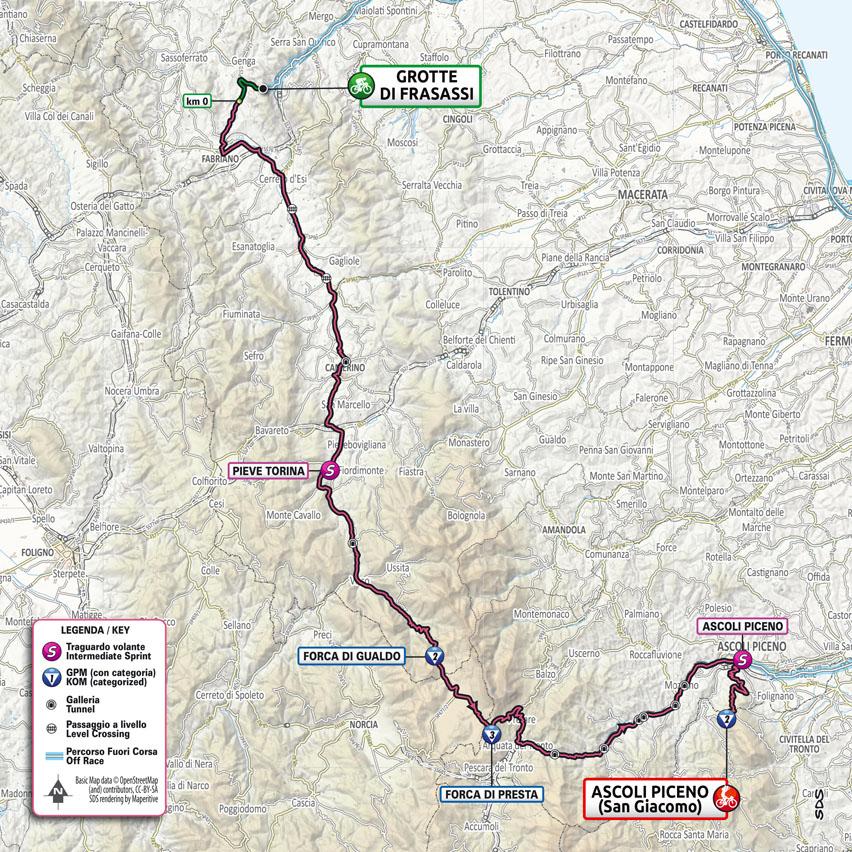 planimetria Tappa 6 del Giro d'Italia 2021 Grotte di Frasassi Ascoli Piceno San Giacomo