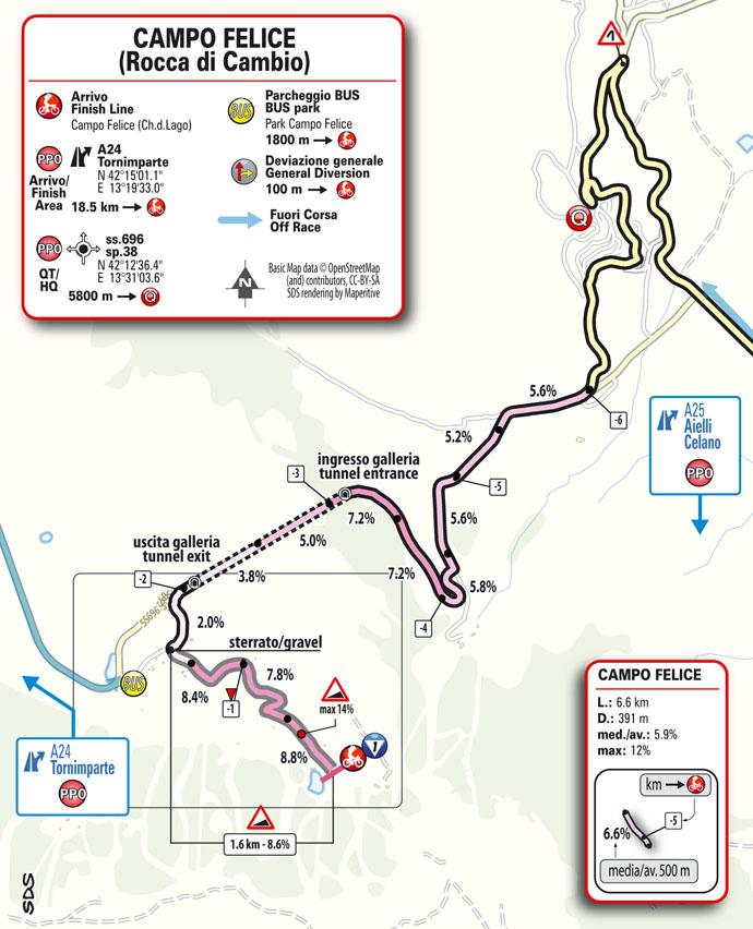 Llegada Etapa 9 Giro d'Italia 2021: Castel di Sangro, Campo Felice (Rocca di Cambio)