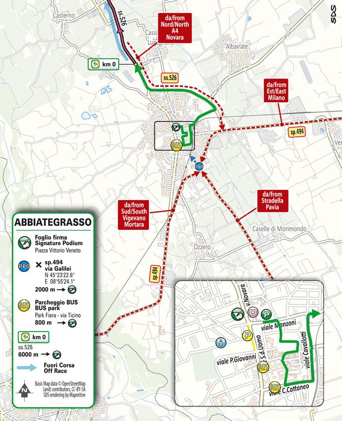 Partenza Tappa 19 del Giro d'Italia 2021: Abbiategrasso, Alpe di Mera (Valsesia)