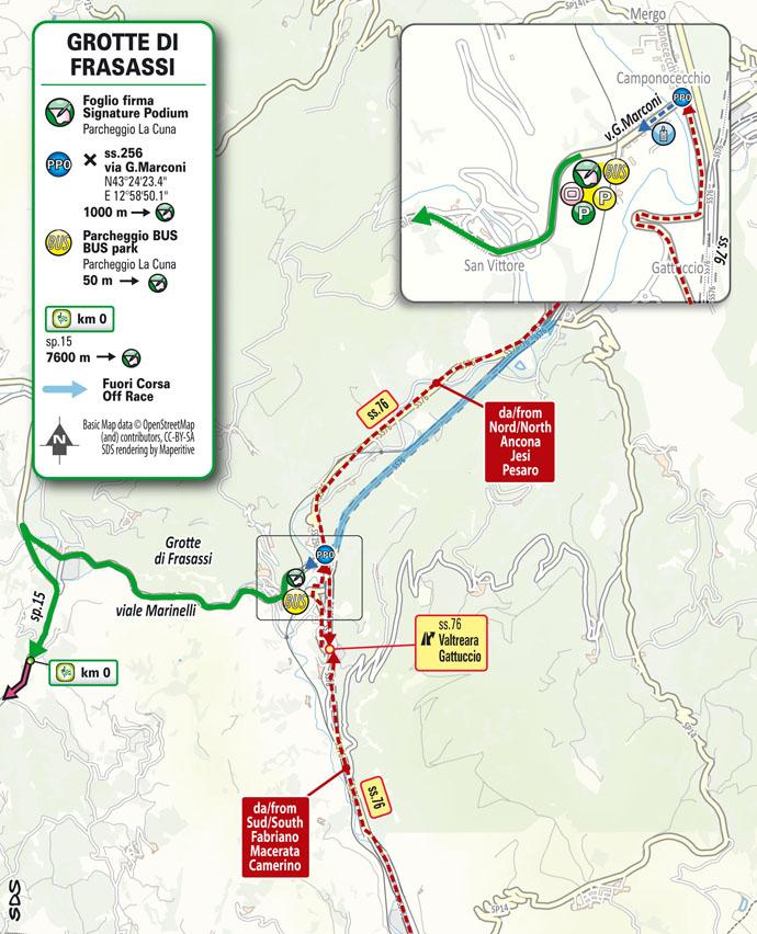 partenza Tappa 6 del Giro d'Italia 2021 Grotte di Frasassi Ascoli Piceno San Giacomo
