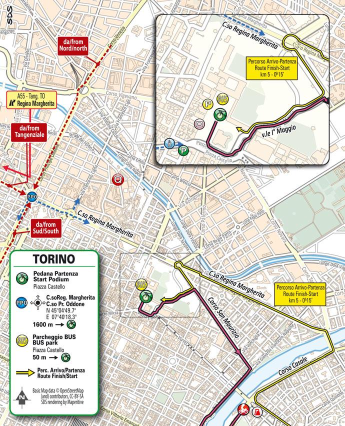 Llegada Altimetría Etapa 1 Giro d'Italia 2021 Torino Torino TISSOT ITT
