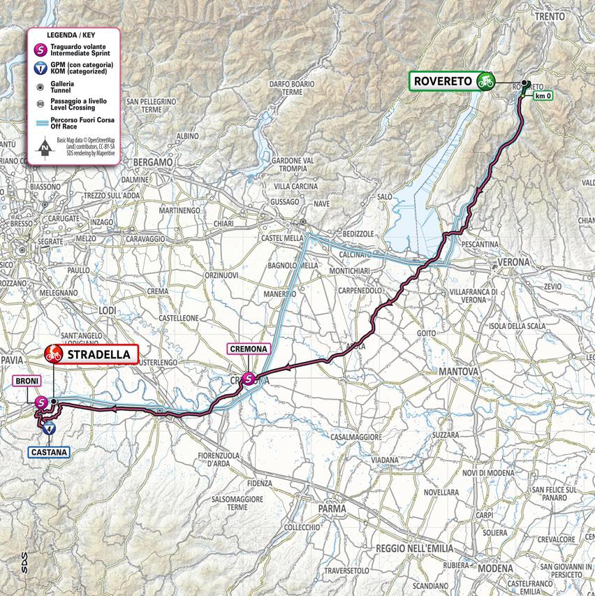 Planimetria Tappa 18 del Giro d'Italia 2021: Rovereto, Stradella