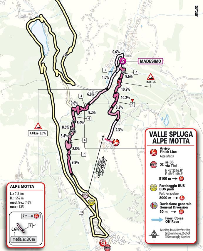 Arrivée Étape 20 Giro d'Italia 2021: Verbania, Valle Spluga - Alpe Motta