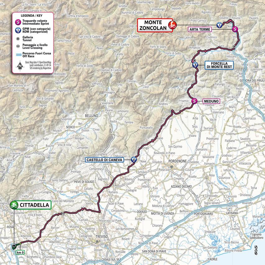 planimetria Tappa 14 del Giro d'Italia 2021 Cittadella Monte Zoncolan