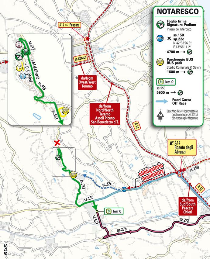 partenza Tappa 7 del Giro d'Italia 2021 Notaresco Termoli