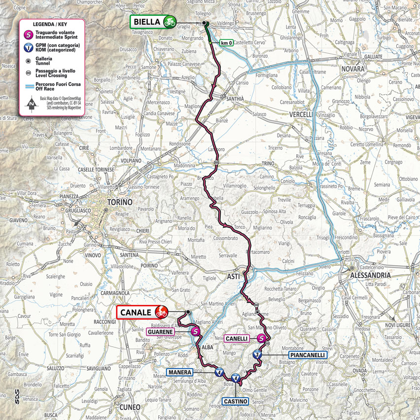 planimetría Etapa 3 Giro d'Italia 2021 Biella Canale