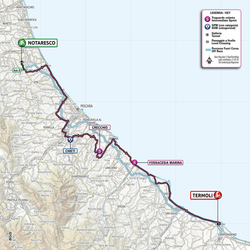 planimetria Tappa 7 del Giro d'Italia 2021 Notaresco Termoli